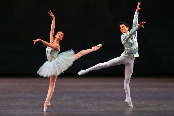 "New York City Ballet Lauren Lovette as the ballerina and Anthony Huxley as her cavalier in ""Raymonda Variations."" Credit Andrea Mohin/The New York Times"